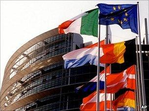 European Parliament in Strasbourg with flags - file pic