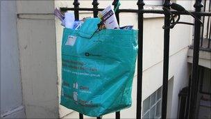 A recycling bag in Camden