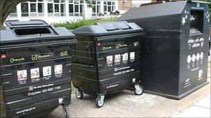 Recycling bins in Haringey