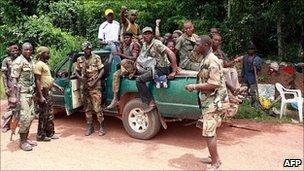 Pro-Ouattara forces in Blolequin, western Ivory Coast, 28 march 2011