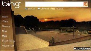 Bing search homepage