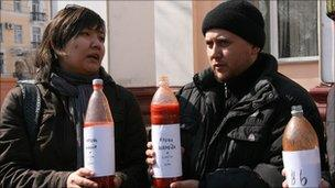 'Blood and tears' opposition activists in Almaty