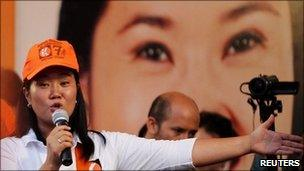 Keiko Fujimori making a speech at a rally in Lima, 25 March 2011