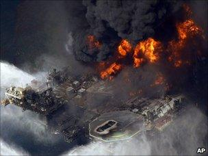 Fire on the Deepwater Horizon rig (21 April 2010)