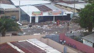 Shop cleared out by looters. Pic taken 1 April