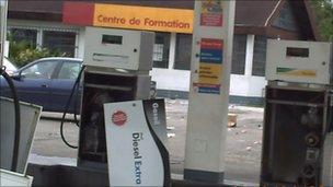 Vandalised petrol pump. Photo: Noah