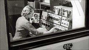 Daphne Oram in a BBC radio studio
