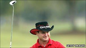Rory Sabbatini of South Africa celebrates after winning The Honda Classic