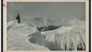 This is an example of Kafka's sense of humour - alleged skiing on a mountain while fighting TB.