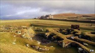 The historic site of Jarlshof in the Shetland Islands