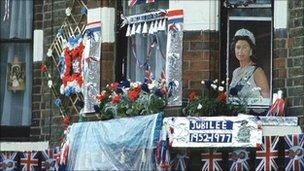 House decorated for Queen's Silver Jubilee