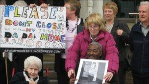 People demonstrating against the proposed closure of the care homes