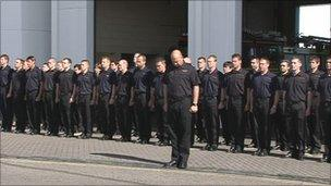 Firefighters respect a two-minute silence