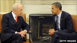 Israeli President Shimon Peres and US President Barack Obama