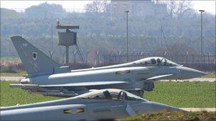 RAF Typhoon jets in southern Italy
