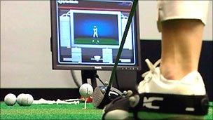 Technology enables a computer screen to show your golf stroke and exactly where the ball comes to rest