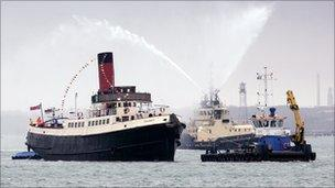 The Calshot tug sailing on its last voyage on the Solent on Tuesday