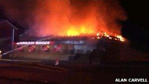 Fire scene at Bargain Booze in Dudley-pic by Alan Carvell