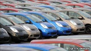 Newly finished cars lined up at the Sunderland plant