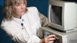 Julia Adamson with one of the computers