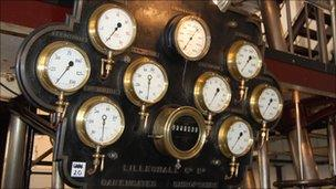 Dials on the restored steam-powered pumping engine