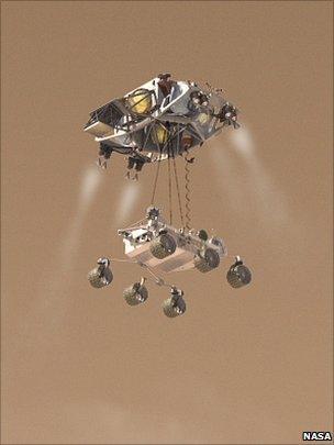 MSL landing on its skycrane