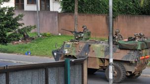 French troops patrolling in Abidjan