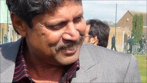 Former Indian cricketer Kapil Dev at Soar Valley College in Leicester