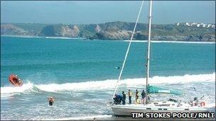 Yacht on beach