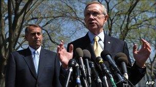 House Speaker John Boehner (left) and Senate Majority Leader Harry Reid (right)