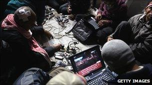 Protesters in Cairo using laptops