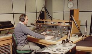 Peter Gore at the desk in Radio Derby's refurbished studios
