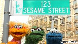 """Sesame Street characters pose under a """"123 Sesame Street"""" sign, November 2009 in New York City"""