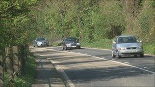 Scene of crash on A28 Ashford Road