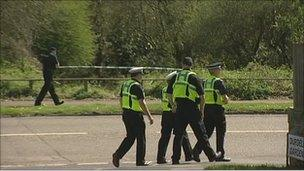 Police at the scene at Kinson Common
