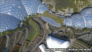 Aerial view of the Eden Project
