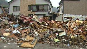 Debris in the town of Kamaishi, Japan