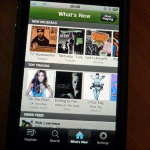 Spotify running on smartphone