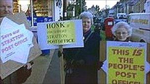 Post office campaigners at Stratton, Gloucestershire