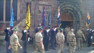 A service was held at St Mary's church in Market Drayton after the parade