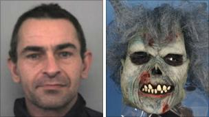 Michael Kelly and the horror mask he was wearing