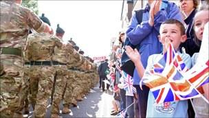 Royal Irish troops parade in Market Drayton