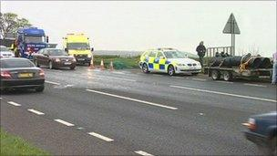 Scene of caravan horse collision
