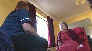 Family Nursing and Home Care nurse meeting a patient