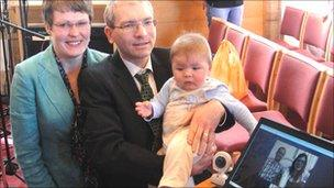 Janet and Chris Wordley with Matthew and laptop