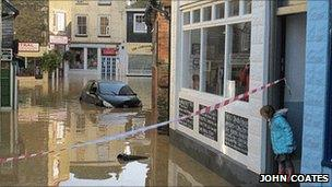 Mevagissey after flooding. Pic: John Coates