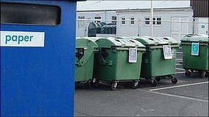 Recycling bring bank at temporary site at St Martin's Garage