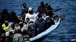 African migrants on a boat in the Mediterranean
