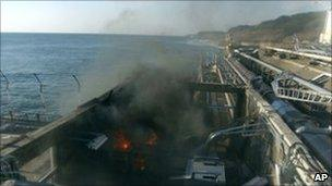 A small fire breaks out from facilities sampling seawater at the crippled Fukushima Daiichi nuclear power plant.