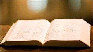 A bible in a church